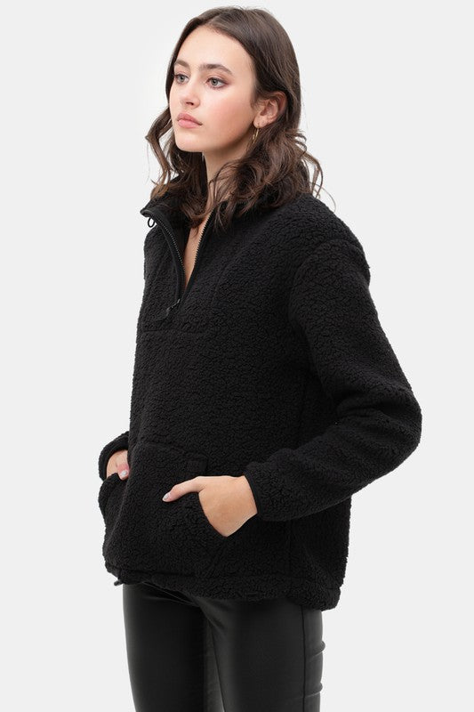 Black Sherpa Fleece Half Zip Up Pullover Top