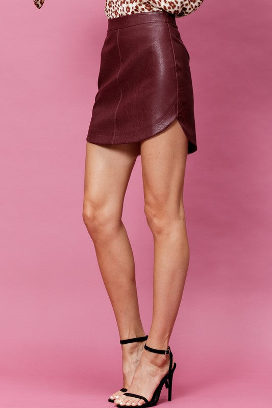 Solid Leather Burgundy Hi- Low Mini Skirt