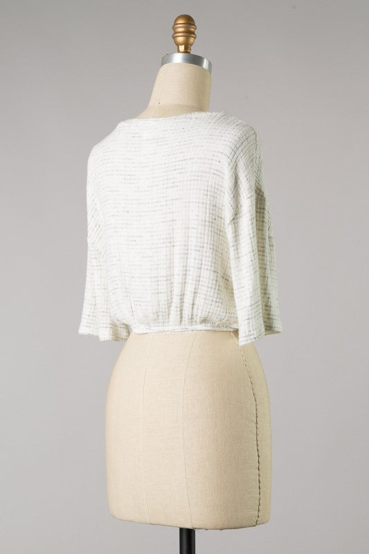 Two Toned Rib Brush Knit Top with Tie
