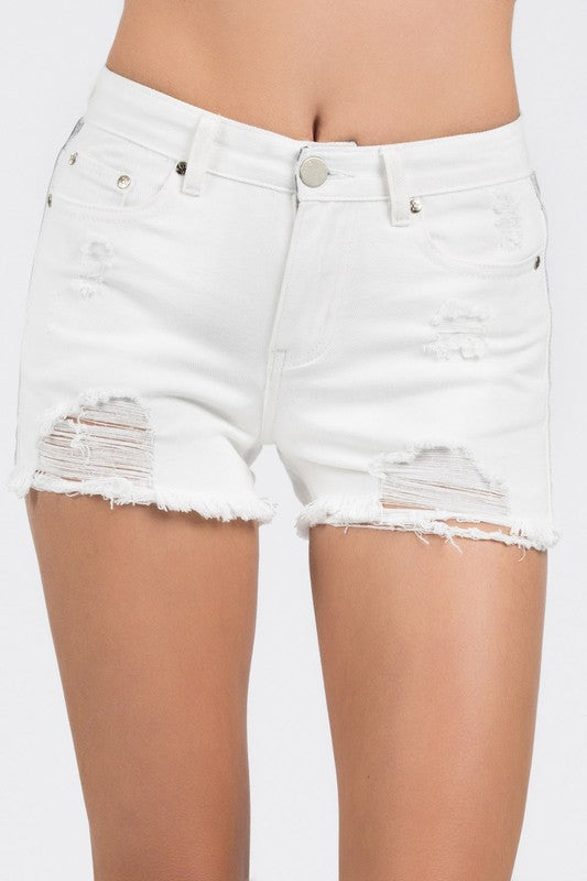 Emerson Distressed White Denim Shorts