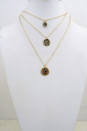 Trio Layer Coin Charm Necklace