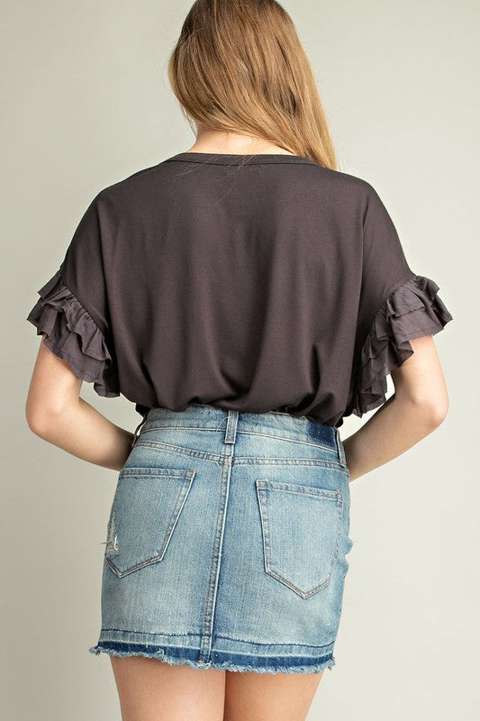 Fabric Mixed Ruffled Sleeves Knit Top