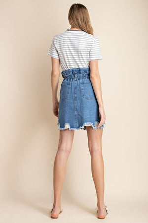 Zoe Ruffled Waist Distressed Denim Skirt
