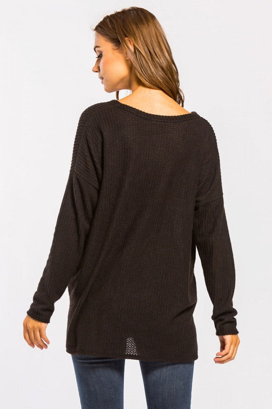 Button Down Brushed Waffle Thermal Long Sleeve Top