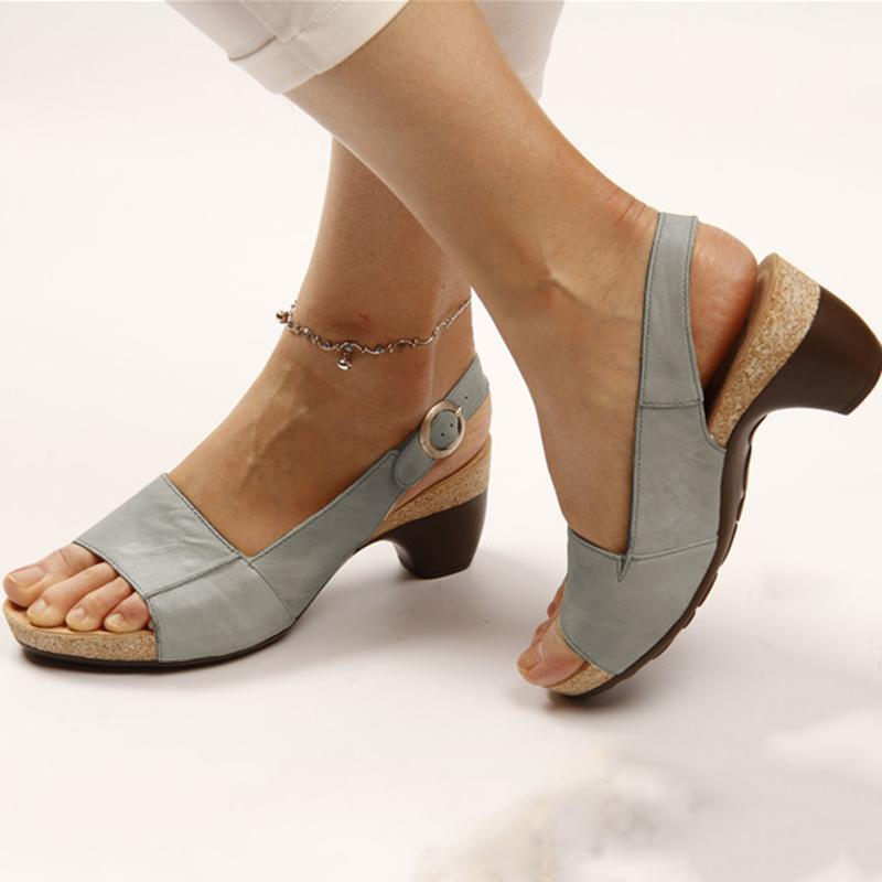 2019 Hot Selling TV Products Comfortable Elegant Low Chunky Heel Sandals