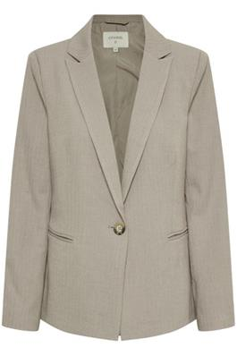 Beige Striped Single Breasted Blazer