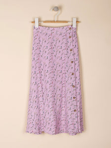 Lilac Ditsy Buttoned Midi Skirt