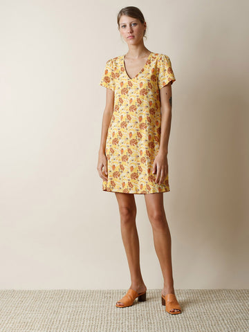 Yellow A-Line Printed Dress