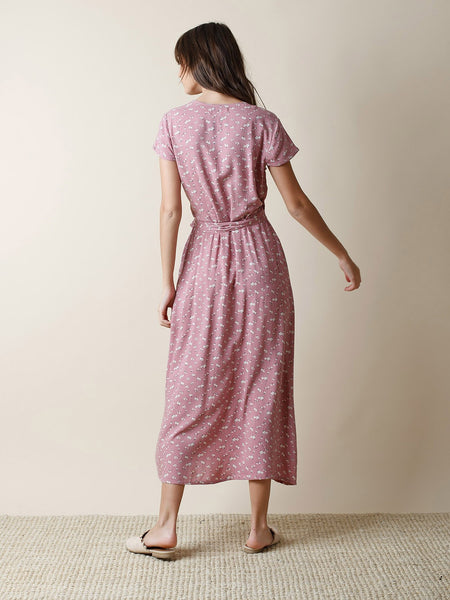 Dusty Pink Printed Wrap Dress