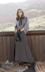 Metallic Striped Maxi Skirt