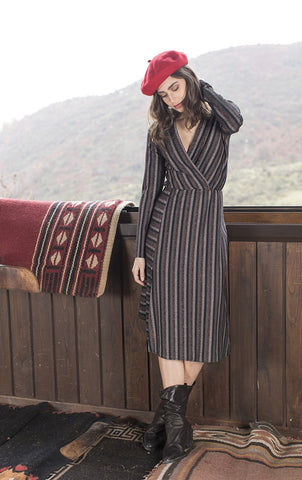 Metallic Striped Wrap Midi Dress