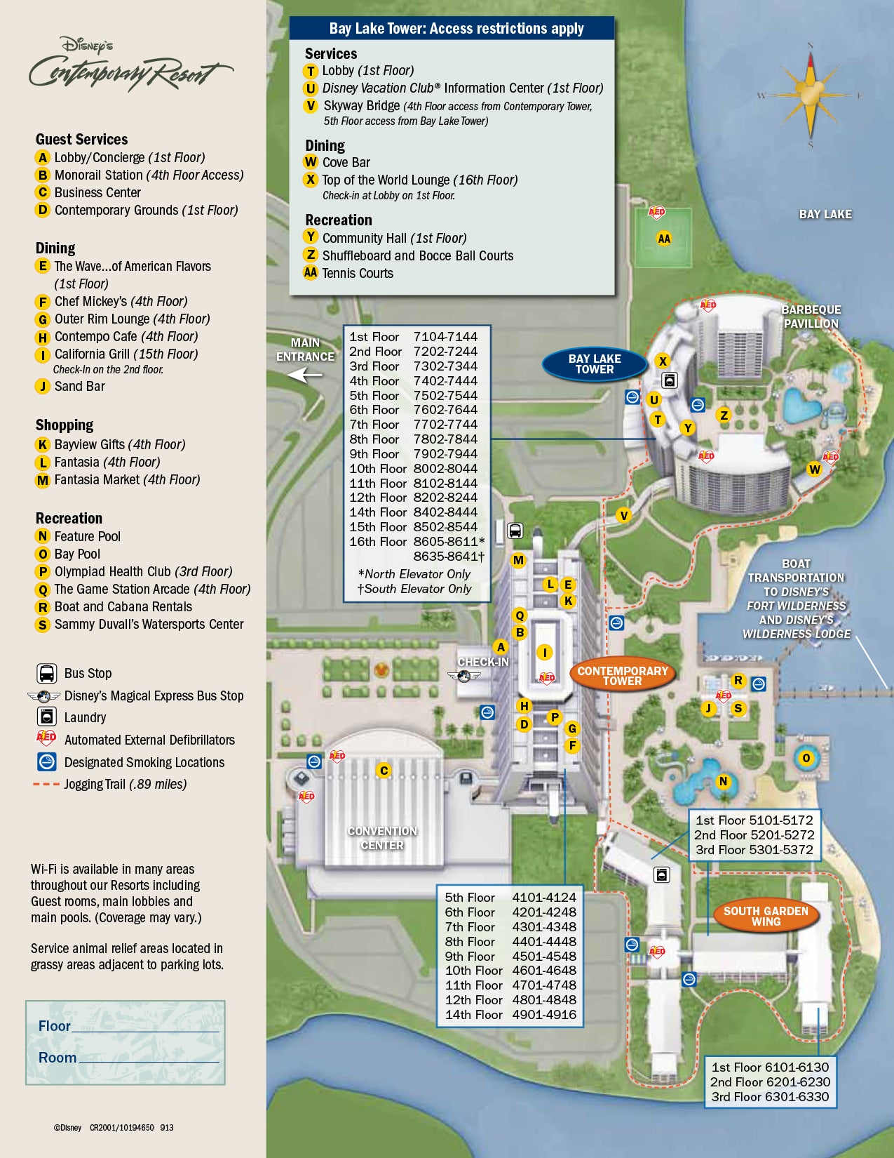 The Contemporary Resort Map