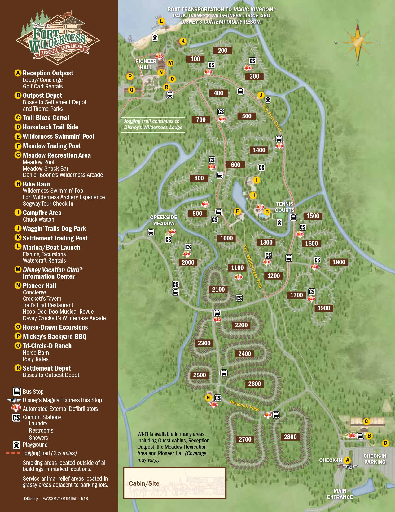 Fort Wilderness Campsite map