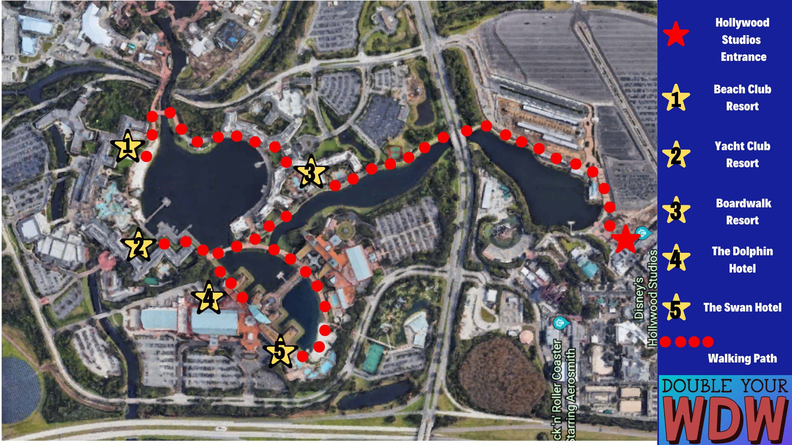 Hollywood Studios walking path from resorts