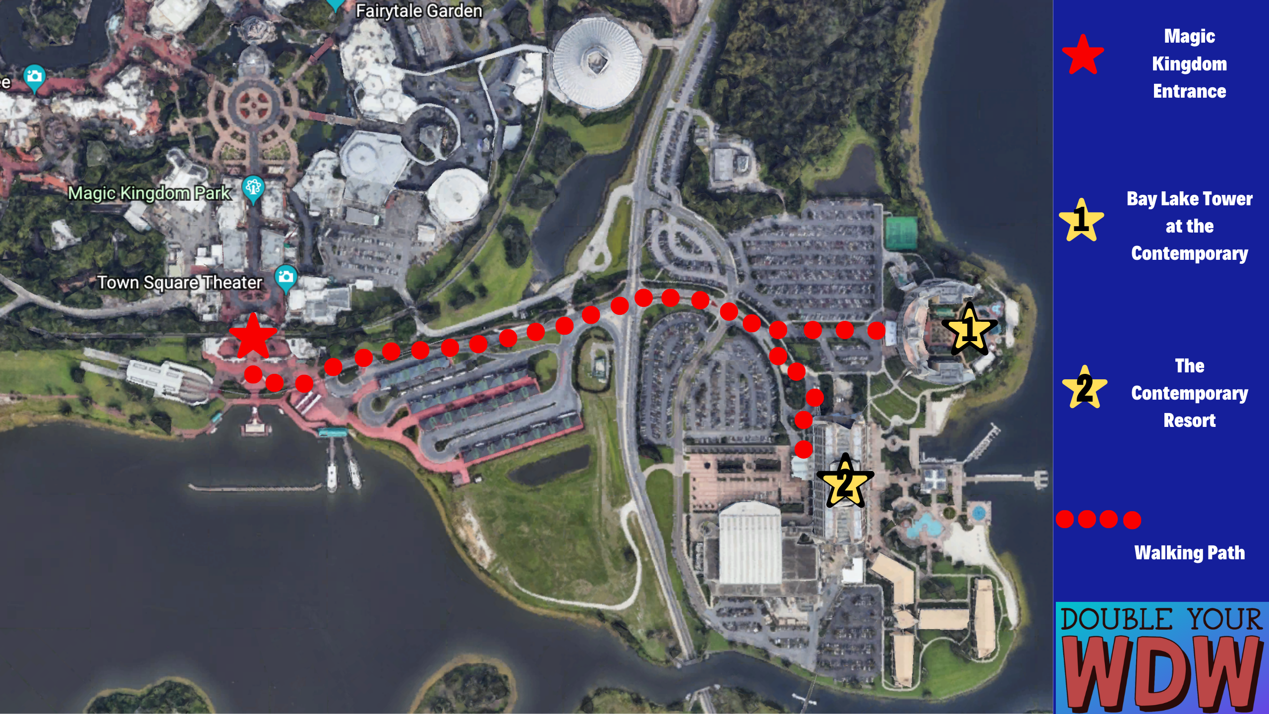 Contemporary and Bay Lake Tower to Magic Kingdom Walking Path
