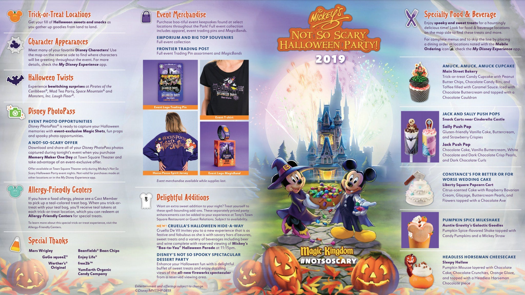 Mickey's Not So Scary Halloween Party Map 2019