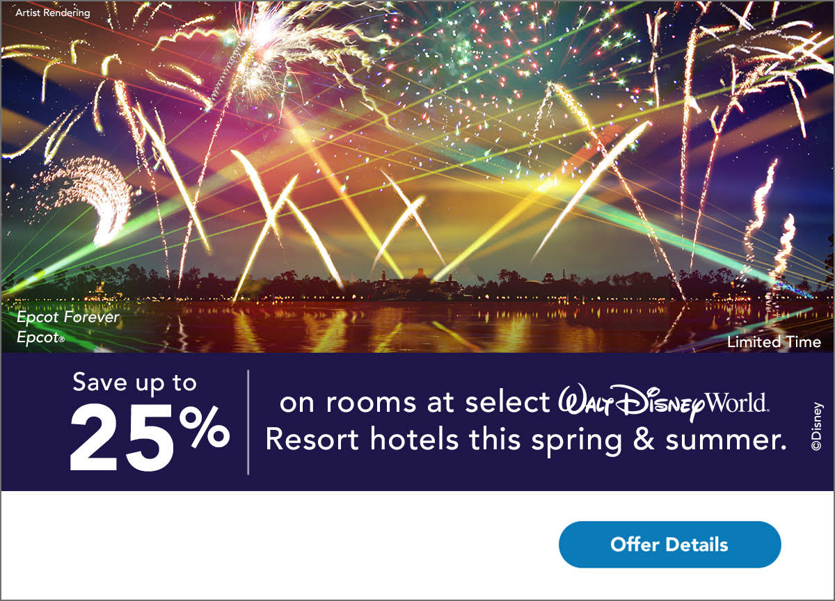 Save up to 25% on room at select WDW hotels this spring and summer.