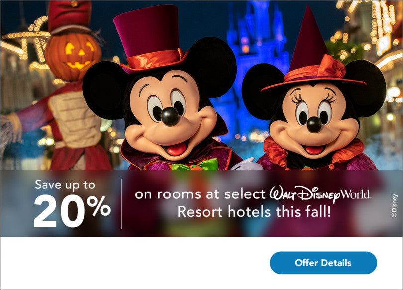 Save up to 20% on rooms at select Walt Disney World Resort hotels