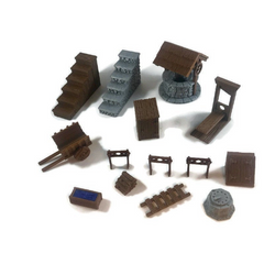 Mega 28mm Village Items Set Part 1 - Miniature Town