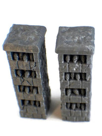 2 Skull Pillars - 28mm Scale miniatures for Occult Temple - Miniature Town