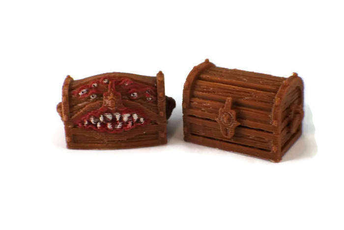Mimic and Treasure Chest Set - 28mm Miniatures for RPG Dungeon Terrain - Miniature Town