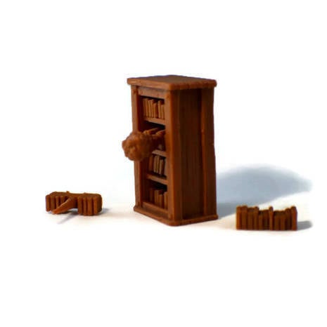 Trapped Bookcase - 28mm D&D Village Terrain | Dungeon Terrain |  Dungeons and Dragons Terrain | Tabletop RPG Terrain