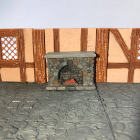 Fireplace 28mm Miniature Furniture for D&D Village Terrain - Miniature Town