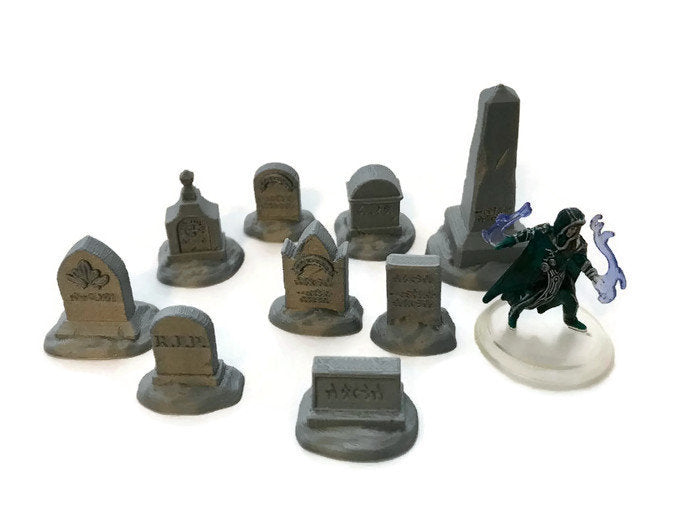 9-Piece Miniature Tombstone Set | 28mm Graveyard Scenery | Dungeon Terrain | Dungeons and Dragons
