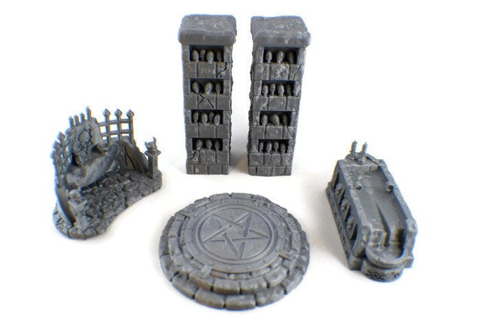 Occult Temple Set - 28mm RPG Terrain - Miniature Town