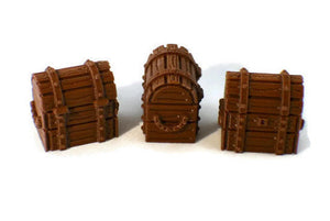 3 Treasure Chests for 28mm Scale Dungeon Terrain - Miniature Town