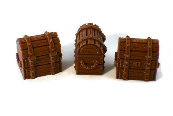 3 Treasure Chests for 28mm Dungeon Terrain  | D&D Terrain | Dungeons and Dragons Terrain | DnD Furniture | RPG Terrain