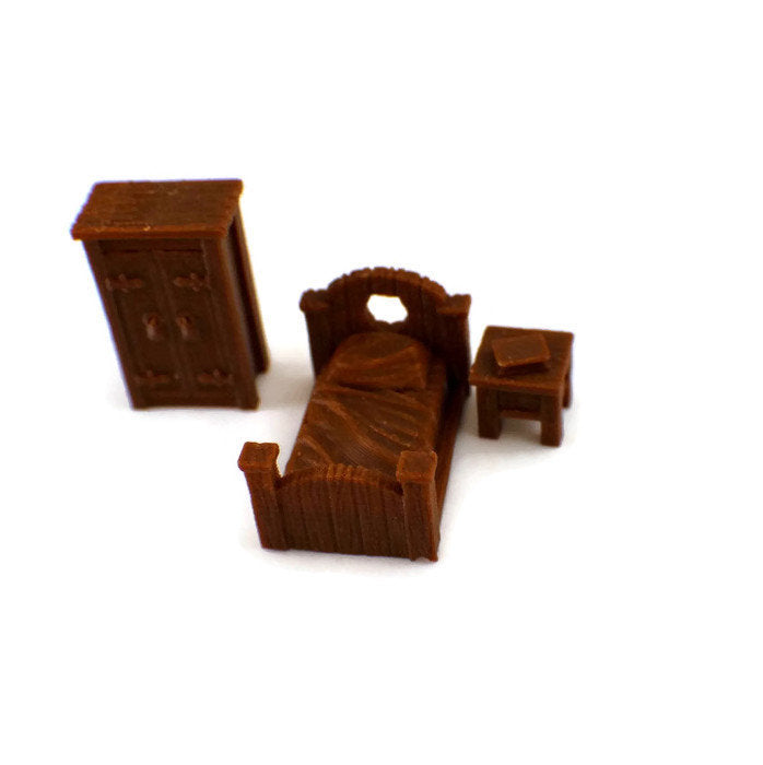 3-Piece Bedroom Set 28mm Furniture | Dungeon Furniture | Dungeons and Dragons Terrain | RPG Miniature Furniture | DnD Terrain