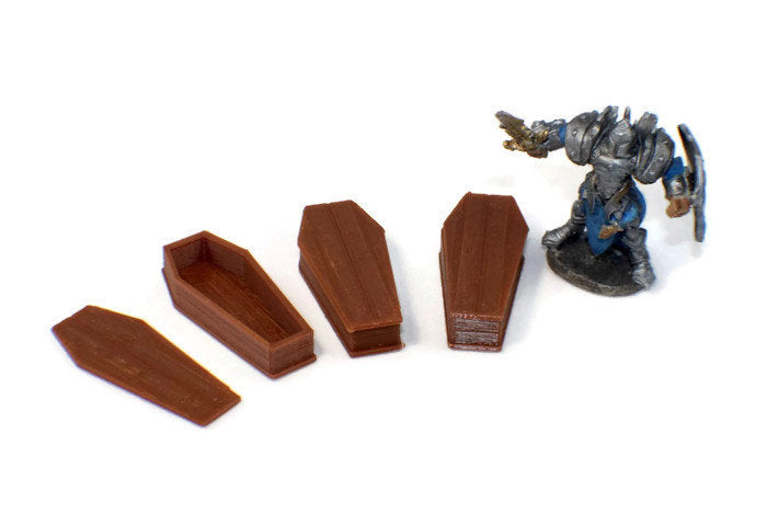 3-Piece Coffin Set for 28mm Graveyard Scenery | Dungeon Terrain | Dungeons and Dragons Terrain