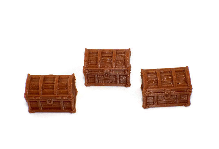 3-Pack Treasure Chests with Lids for 28mm Scale D&D Terrain - Miniature Town