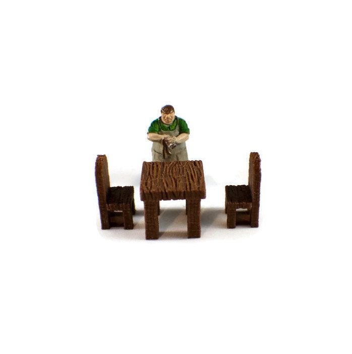 28mm Tables and Chairs for D&D Dungeon Furniture - Miniature Town