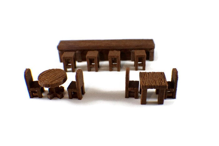 Tables and Chairs for 28mm Scale D&D Dungeon Furniture - Miniature Town