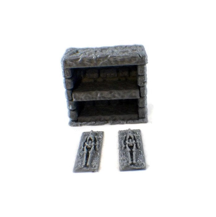 Miniature Crypt Wall with Skeletons | 28mm Graveyard Scenery | Dungeon Terrain | Dungeons and Dragons Terrain