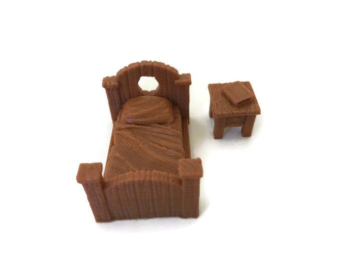 2-Piece Bedroom Set of 28mm Miniature Dungeon Furniture | Dungeons and Dragons Terrain | RPG Miniature Furniture | DnD Terrain