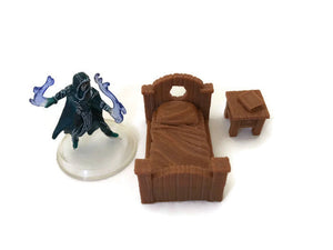 2-Piece Bedroom Set of 28mm Scale Miniature Dungeon Furniture - Miniature Town