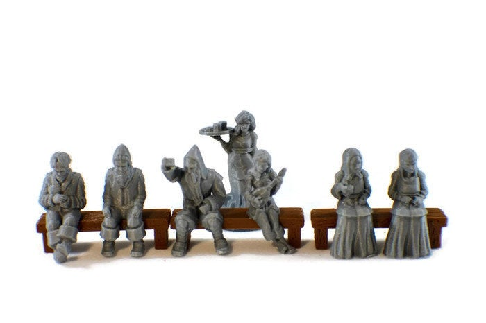 Sitting Tavern NPCs LowRes 28mm Miniature Set for D&D Furniture | 28mm Tavern NPCs for Dungeons and Dragons Terrain