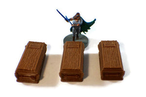 3-Piece Casket Set for 28mm Scale Graveyard Scenery - Miniature Town