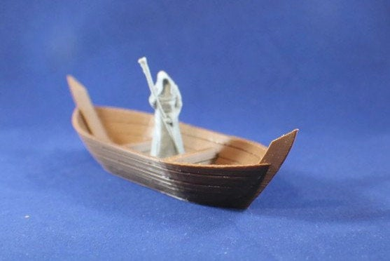 Ferry Boat Miniature with Ferryman | 28mm Scale for Dungeons and Dragons Terrain