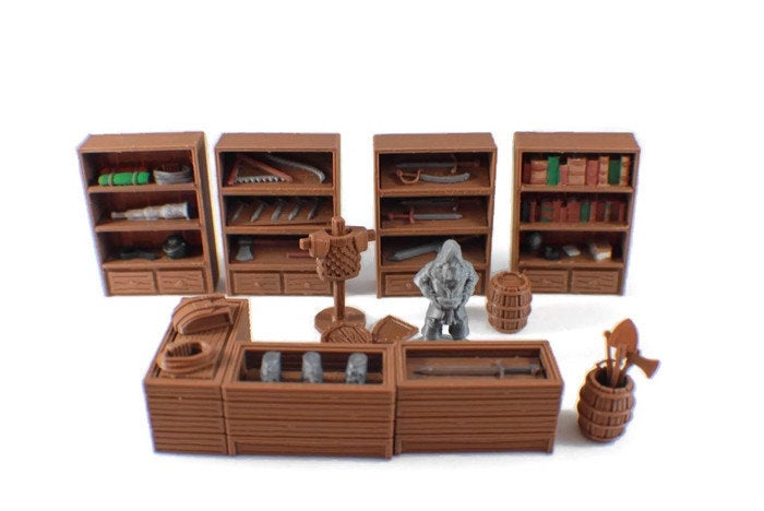 General Store 28mm Miniature Village Furniture  | D&D Terrain | Dungeons and Dragons Terrain