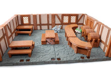 Load image into Gallery viewer, Miniature Tavern Set of 28mm Scale D&D Furniture - Miniature Town