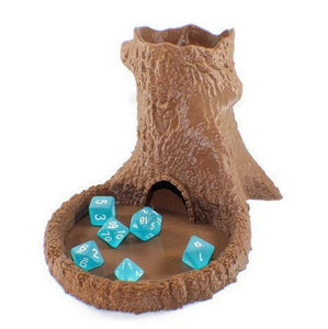 Tree Dice Tower and Set of Polyhedral Dice - Miniature Town