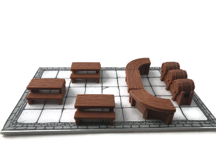 28mm Miniature Tavern Set of D&D Furniture | Dungeon Terrain | DnD Dungeons and Dragons Terrain
