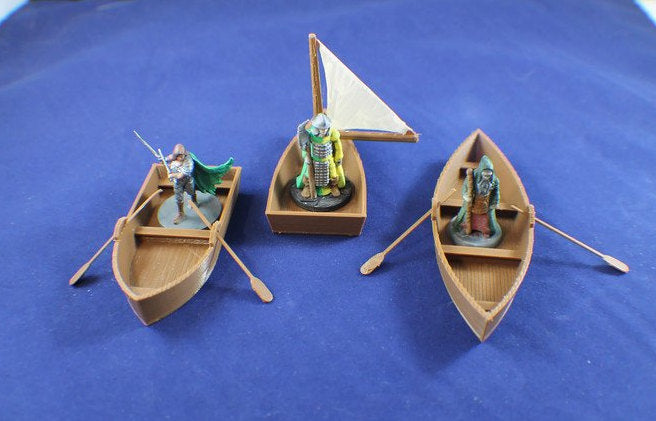 3-piece Set 28mm Boats for Nautical Terrain - Miniature Town