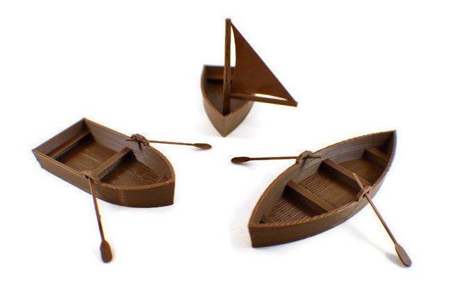 3-piece Set 28mm Boats | Dungeons and Dragons Terrain | Tabletop RPG | Miniature Ship Rowboat