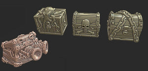 4-piece 28mm Pirate Treasure Chests - Miniature Town