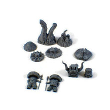 Load image into Gallery viewer, Mushroom Monster or Myconid Set of 28mm Scale Miniatures for D&D Cavern Terrain - Miniature Town